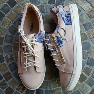Just Fab Kick it Up Blush Floral Sneakers